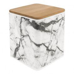 Boîte de rangement carré effet marbre Blanc  Present Time