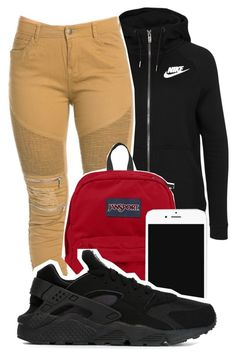 """""""School"""" by kitty-ma ❤ liked on Polyvore featuring NIKE and JanSport"""
