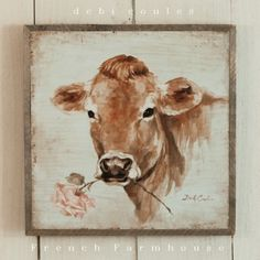 Debi Coules Romantic Art - French Farmhouse Cow with Rose, $68.00 (http://www.debicoules.com/french-farmhouse-cow-with-rose/)