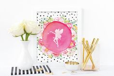 Digital print, fairy with pink flowers, floral watercolour print, instant…