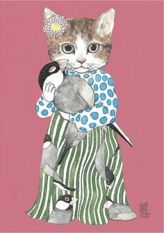 Japanese Postcard: Stylin' Kitty Cat w Polka Dots, Stripes & Bird - Higuchi Yuko - Is it bad when a cat is your style icon? Art And Illustration, Illustrations Posters, I Love Cats, Crazy Cats, Cool Cats, Top Art Schools, Cat People, Cat Drawing, Artist Art