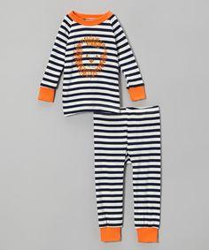 Cat & Cow: Navy Stripe Lion Pajama Set - SALE