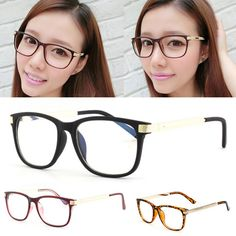 Retro Women Myopia Eyeglasses Eyewear Clear Lens Meral Leg Frame Optical  Glasses New 39e736bcf7