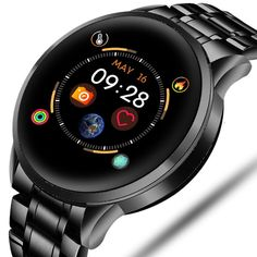 Steel Smart Watch Men Waterproof Sport For iPhone Heart Rate Monitor Fitness tracker Android 4.4, Android Watch, Modern Watches, Watches For Men, Men's Watches, Luxury Watches, Fitness Tracker, Iphone, Remote Camera