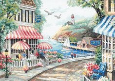 """Cafe By The Sea Counted Cross Stitch Kit-14""""""""X10"""""""" 14 Count"""
