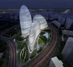 zaha hadid, Wangjing, SOHO, Beijing, futuristic architecture, futuristic concept, Chinese architecture