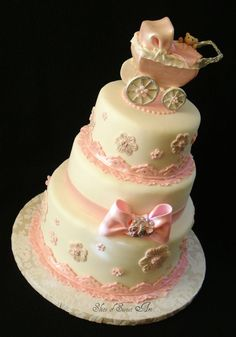Take the baby carriage off the top and it would be cute birthday cake.