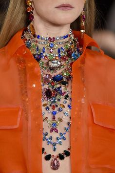 "Why wear one necklace when you can wear thirteen? ""Euvieira​"" -Ralph Lauren's S/S 2015 show. Haute Couture blog."