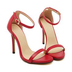 SheIn(sheinside) Red Stiletto High Heel Ankle Strap Sandals ($30) ❤ liked on Polyvore featuring shoes, sandals, heels, sapatos, sheinside, red, high heels stilettos, high heel shoes, ankle tie sandals y red shoes