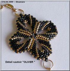 Sans_titre_6 - sort-guld blomster vedhæng - smukt skal laves   ideas: jewelry   Beads, Beadwork and Pendants