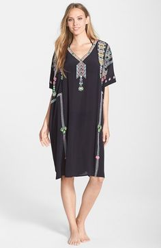 Antik batik black embroidered dress