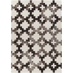 "Artist's Loom Hand-Tufted Contemporary Geometric Pattern Wool Rug (5'x7'6"") ((5'x7'6"")), Brown, Size 5' x 8'"