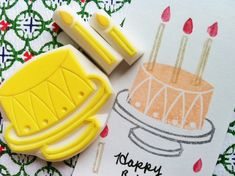 cake rubber stamp. hand carved rubber stamp. handmade rubber stamp. wedding. birthday. 2candles. set of 3. no2.