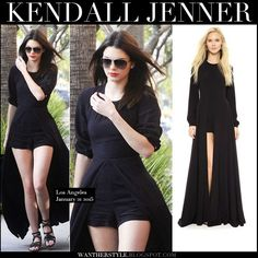 kendall jenner in black caped playsuit