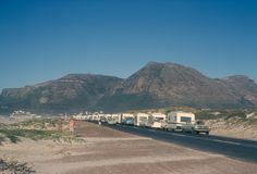 Rally line-up at Muizenberg Nordic Walking, Photo Story, Caravans, Good Old, Cape Town, Rally, Trailers, South Africa, Nostalgia