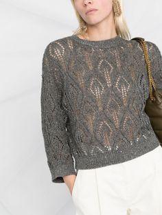 Jumper, Knit Edge, How To Purl Knit, Brunello Cucinelli, Knits, Knitwear, Crochet Patterns, Women Wear, Sewing