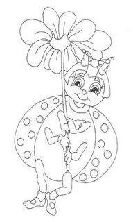 desenhos para pano de prato bichinho joaninha flor