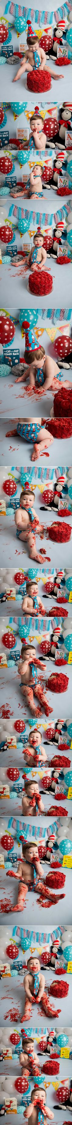 Cat in the Hat Cake Smash | Holly Schaeffer Photography Red Blue Dr Suess Cake Smash Photographer