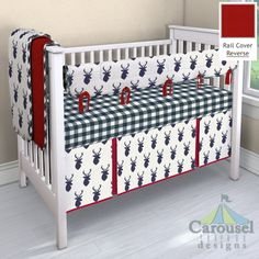 sports shoes 3b8a6 51cd8 Crib bedding in Windsor Navy Deer Head, Solid Scarlet Red Minky, Large Navy  Gingham
