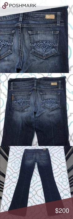 "💙👖Cute Paige Jeans👖💙26 1/2 30"" 💙👖Cute Paige Jeans👖💙Size 26 (1/2). 30.25"" Inseam. 6.75"" Rise.  14.25"" Across Back. Awesome Stretch. Dark Blue Wash. Heavy Fading. Laurel Canyon. Low Rise. Boot Cut. Hemmed. Cute Pockets. Paige! Anthro! Anthropologie! Ask me any questions! : ) Paige Jeans Jeans Boot Cut"