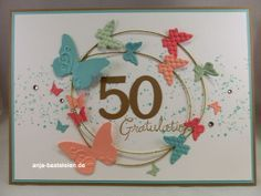 Carta in grande formato per il 50 ° compleanno - . Cool Birthday Cards, Bday Cards, Karten Diy, Butterfly Cards, Butterfly Wings, Card Making Inspiration, Card Sketches, Creative Cards, Anniversary Cards