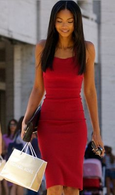 Chanel Iman Style in Stretch Midi Dress