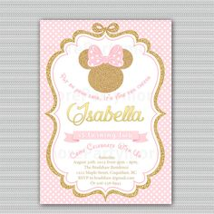Pink and Gold Minnie Mouse Birthday Party Invitation, First, 1st Birthday, 2nd Birthday Gold Glitter, Polka Dot, Girl, Printable Invitation by morePARTYmore on Etsy https://www.etsy.com/listing/479304452/pink-and-gold-minnie-mouse-birthday