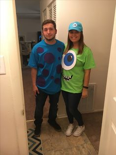 Easy DIY couples halloween costume of Mike and Sully from Monster's Inc. Eye and hat made from card stock and glued, spots from felt, and mouth was painted with fabric paint.