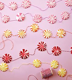 Peppermint candies melt right onto string for a no-needle-required Christmas #craft.