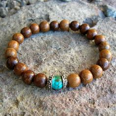 wrist mala bracelet with genuine turquoise gemstone by lovepray, $24.50