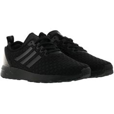 Adidas Zx Flux Sneakers (833.415 IDR) ❤ liked on Polyvore featuring shoes, sneakers, black, black trainers, black shoes, black sneakers, adidas sneakers and adidas footwear