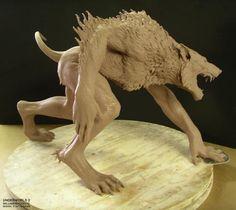 Steve Wang sculpt for a werewolf character. Polymer Clay Sculptures, Sculpture Clay, Mythical Creatures Art, Fantasy Creatures, Toy Art, Imprimente 3d, Skin Walker, Werewolf Art, Monster Design