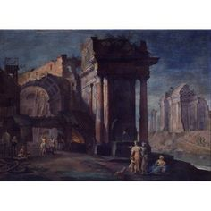 View Of Ruins With Metallurgical Factory (Veduta Di Rovine Con Officina Metallurgica) Canvas Art - (36 x 24)