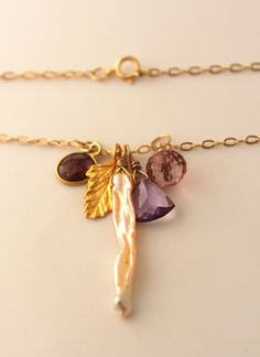 Pink Gemstone Gold Leaf Cluster Charm Necklace by ROandKO on Etsy