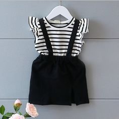 Victory! Check out my new Pretty Striped Ruffle Decor T-shirt and Strap Skirt Set for Baby Girl, snagged at a crazy discounted price with the PatPat app.