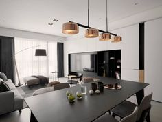 The linear fixture of LALU+ pendant can be rotated to create cross or straight formations. Living Room Wall Units, Living Room Modern, Living Room Interior, Living Room Decor, Living Styles, Dining Room Lighting, Dining Room Design, Apartment Design, Contemporary Interior
