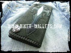 """Sacrifice"" 8"" Shark and Stingray Custom Handmade Men's Biker Wallet"