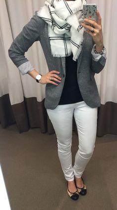 @LOFT grey blazer, black tee, white jeans, ballet flats and blanket scarf outfit || loftycloset.com