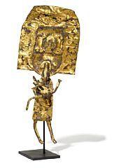 """841/1061 - Robert Jacobsen: """"Den grådige"""" (The Greedy). Signed on the base RJ. Partially gilded iron. H. 59 cm."""
