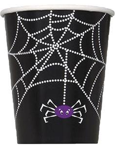8 griezel bekertjes met een paars spinnetje voor #Halloween. www.kinderfeest.nu!
