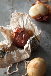 """Recipe and Styling by Libbie Summers Photography by Chia Chong A simple hard-boiled egg just got posh....in a sort of homesteading way. Onion Skin Dyed Eggs makes 6 Ingredients (supplies): 6 pieces of cotton fabric (about 6X6"""", just big enough to wrap..."""