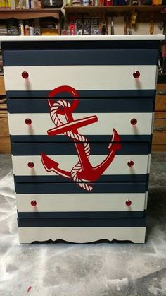 Pallet Furniture Diy nautical themed striped dresser anchor transfer paint pen print trace by House of Misfit Furniture Nautical Dresser, Nautical Furniture, Pallet Furniture Designs, Painted Furniture, Boys Nautical Bedroom, Furniture Makeover, Diy Furniture, Simple Furniture, Kids Bedroom Furniture