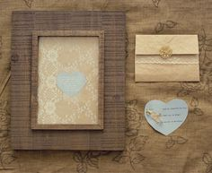 I like the rustic frame with cream and lace. Would be really pretty for table numbers!