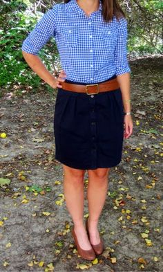 a journey in style: Old Navy blue gingham shirt + navy skirt + cognac wedges