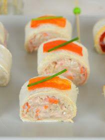 Rollitos de canapés con pan de molde ¡3 ideas de aperitivo rápidas y fáciles! | Cuuking! Recetas de cocina Finger Foods, Sushi, Dips, Sandwiches, Toast, Ethnic Recipes, Azores, Babyshower, Brownies