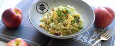 Qooking.ch | Salade de Quinoa aux pêches Guacamole, Grains, Rice, Ethnic Recipes, Food, Grilling, Recipe, Essen, Meals