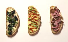 trio of gourmet grilled cheese: blackberry/basil, avo/sriracha, bbq beef/pickled onion