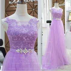 The lilac lace prom dress are fully lined, 4 bones in the bodice, chest pad in the bust, lace up back or zipper back are all available, total 126 colors are available. This dress could be custom made, there are no extra cost to do custom size and color.  Description of lilac lace prom dress 1...