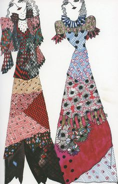 + celia birtwell fashion sketch, late more here and here Textiles, Celia Birtwell, Ossie Clark, Vintage Outfits, Vintage Fashion, Fashion Sketches, Fashion Illustrations, Jackett, Fashion History