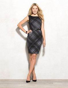 Plaid Sheath Dress - Dress Barn